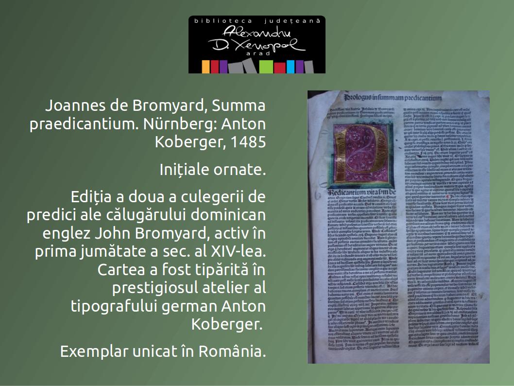 """Colecţia """"Incunabule"""" Summa praedicantium – exemplar unicat în România"""