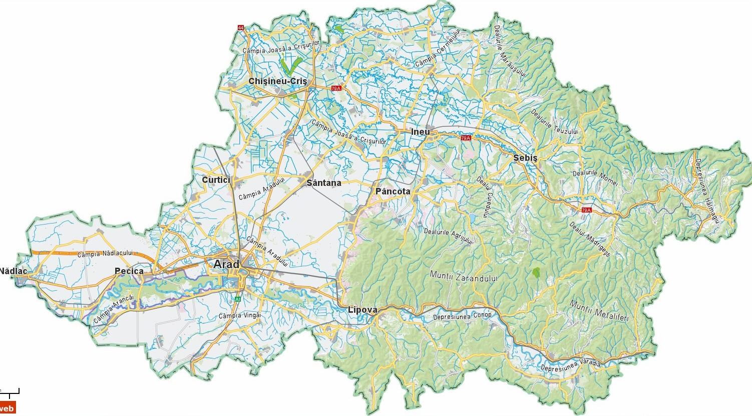 Harta Interactiva a Judetului Arad